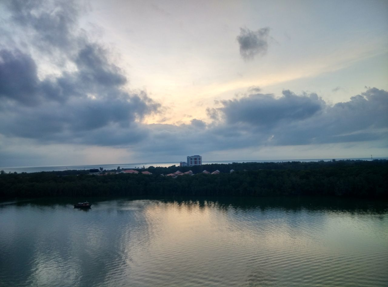 sky, cloud - sky, built structure, water, no people, building exterior, architecture, nature, reflection, sunset, outdoors, tranquil scene, beauty in nature, scenics, tranquility, day, tree