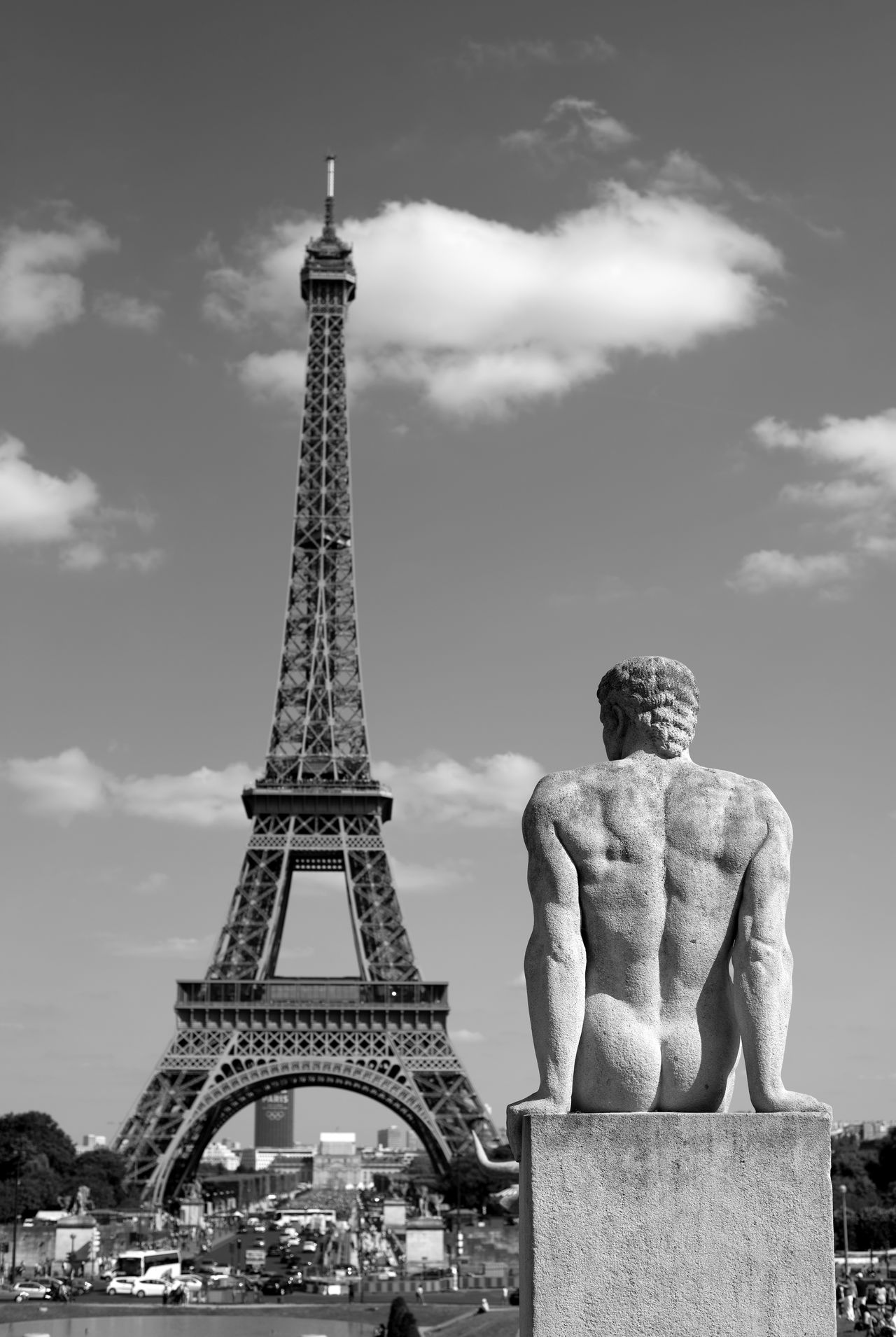 For eternity Black And White Blackandwhite Blackandwhite Photography Eiffel Tower Eiffeltower Paris, France  Statigram Statue Statues And Monuments Statues/sculptures Trocadero
