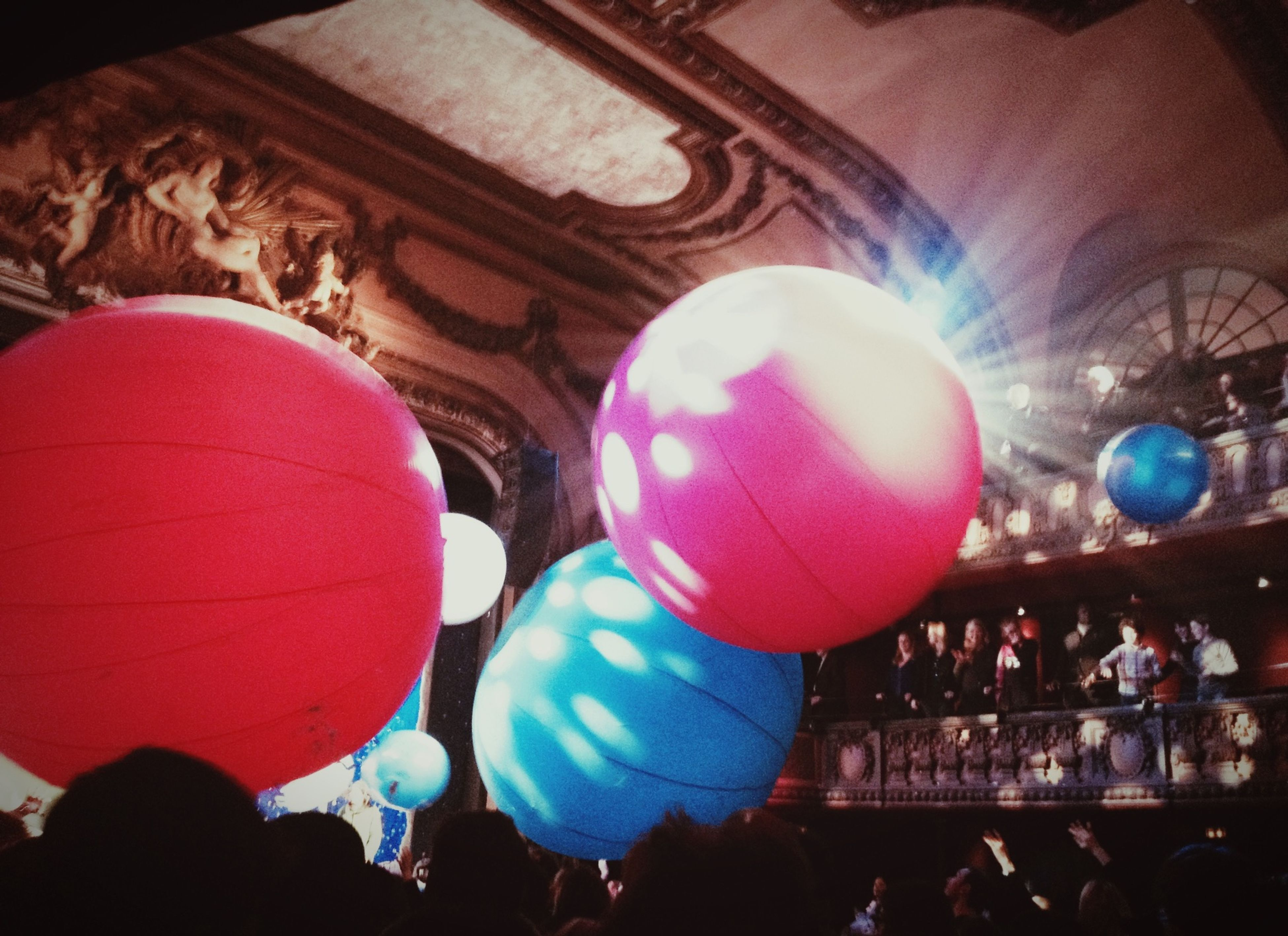 celebration, illuminated, balloon, indoors, decoration, multi colored, lighting equipment, tradition, leisure activity, hanging, cultures, lantern, traditional festival, night, lifestyles, low angle view, sphere, large group of people, enjoyment