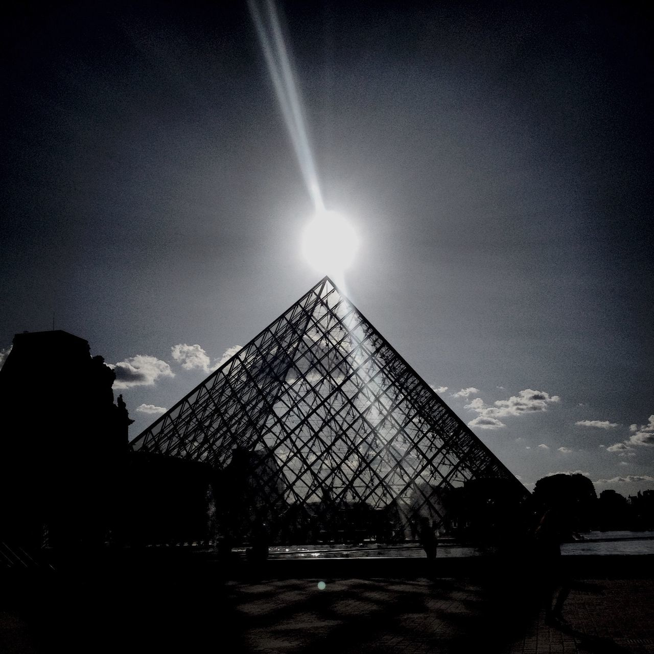 sky, sun, architecture, built structure, real people, building exterior, low angle view, outdoors, pyramid, nature, day