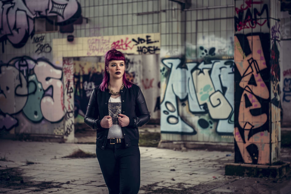 Adult Adults Only Artist Arts Culture And Entertainment Beautiful People Beautiful Woman Beauty City Day Fashion Graffiti Leather Leather Jacket Lifestyles One Person One Woman Only One Young Woman Only Only Women Outdoors People Portrait Women Young Adult Young Women