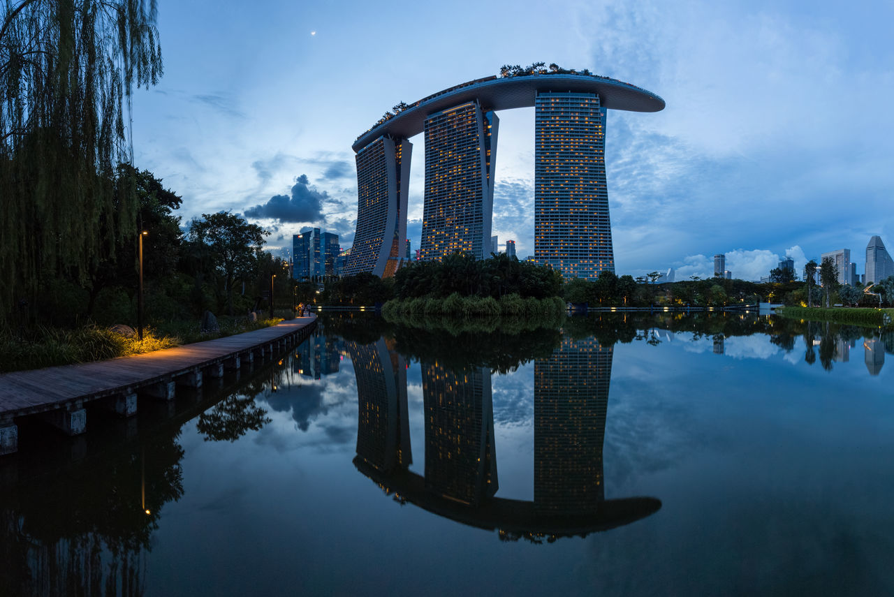 Bluehour Building Cityscapes Marina Marina Bay Marina Bay Sands Reflection Singapore City Singapore View Singapore_collection Sunset Silhouettes Sunset_collection EyeEm EyeEm Gallery Highquality Panorama Panoramic View