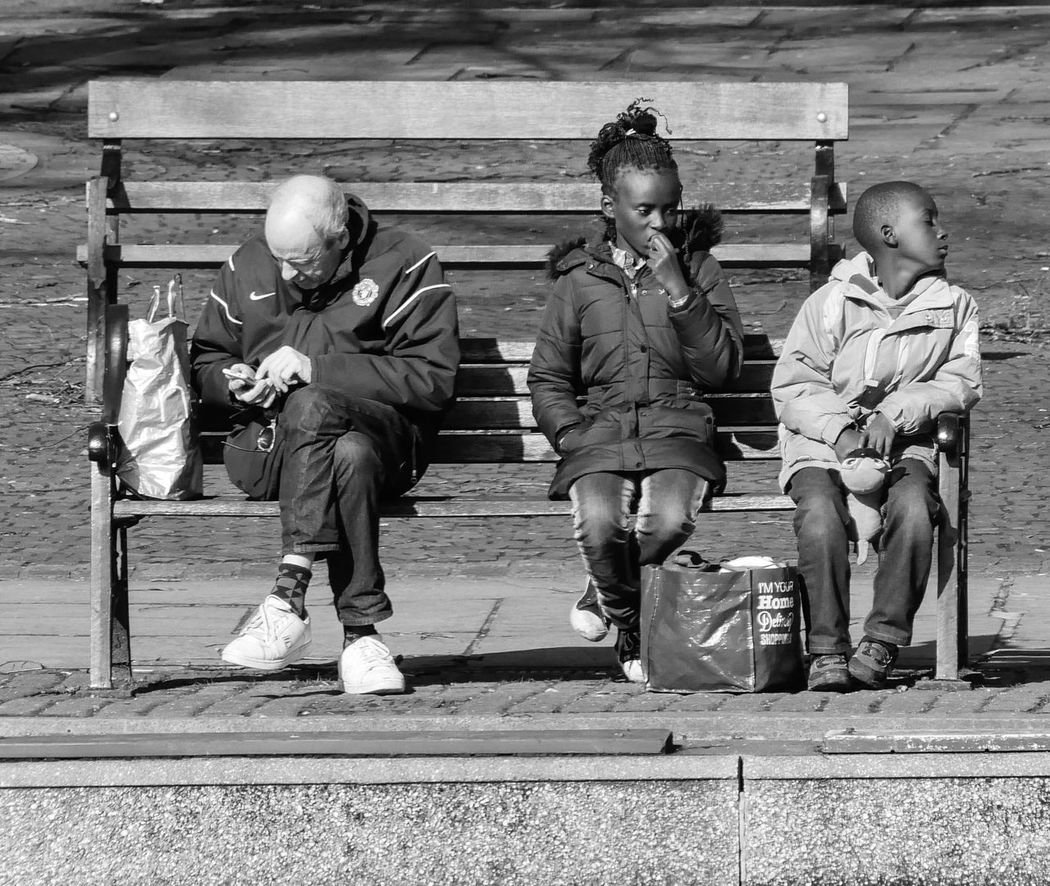 Street Photography Streetlife People Watching Black And White Monochrome Photography Children Bench Waiting Canal Bank Sunshine Shadows Social Media Candid