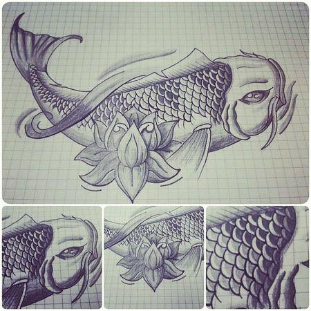 Tatuajes Tattoos Tatuaje Tattooadict tattoodesing mydrawing koifish koi lovetattoo loto