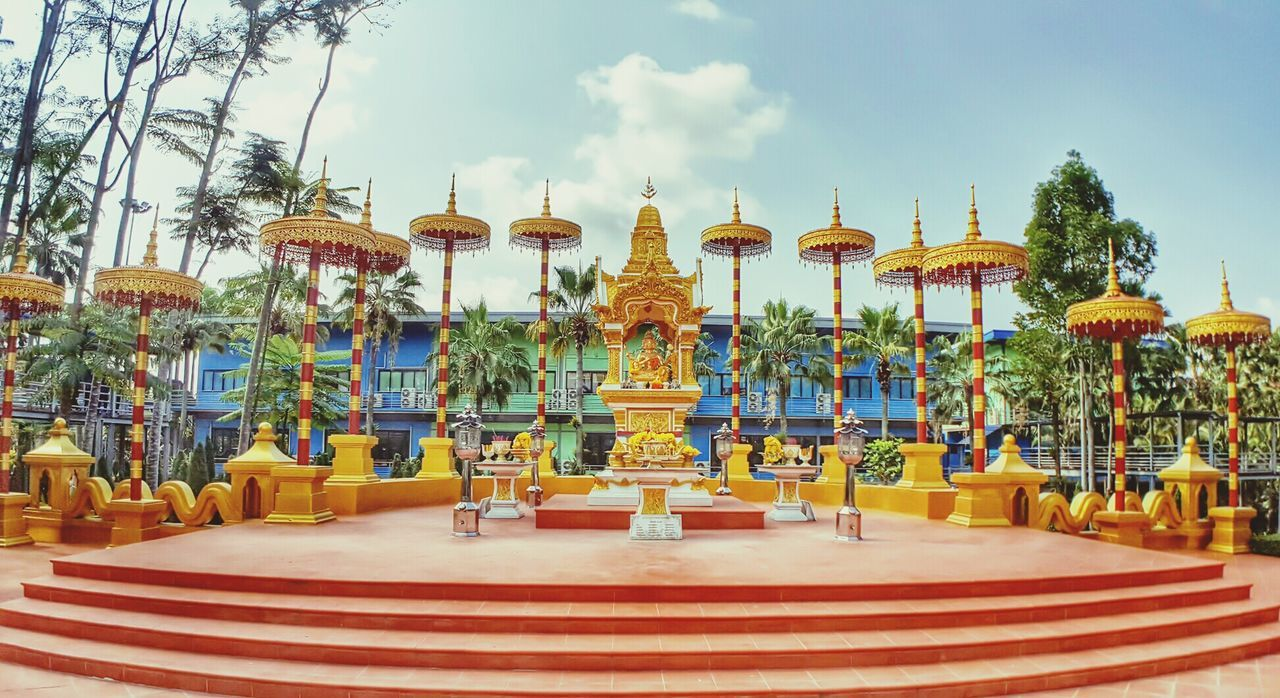 religion, travel destinations, spirituality, place of worship, tourism, sky, day, tree, no people, gold colored, yellow, outdoors, architecture, luxury