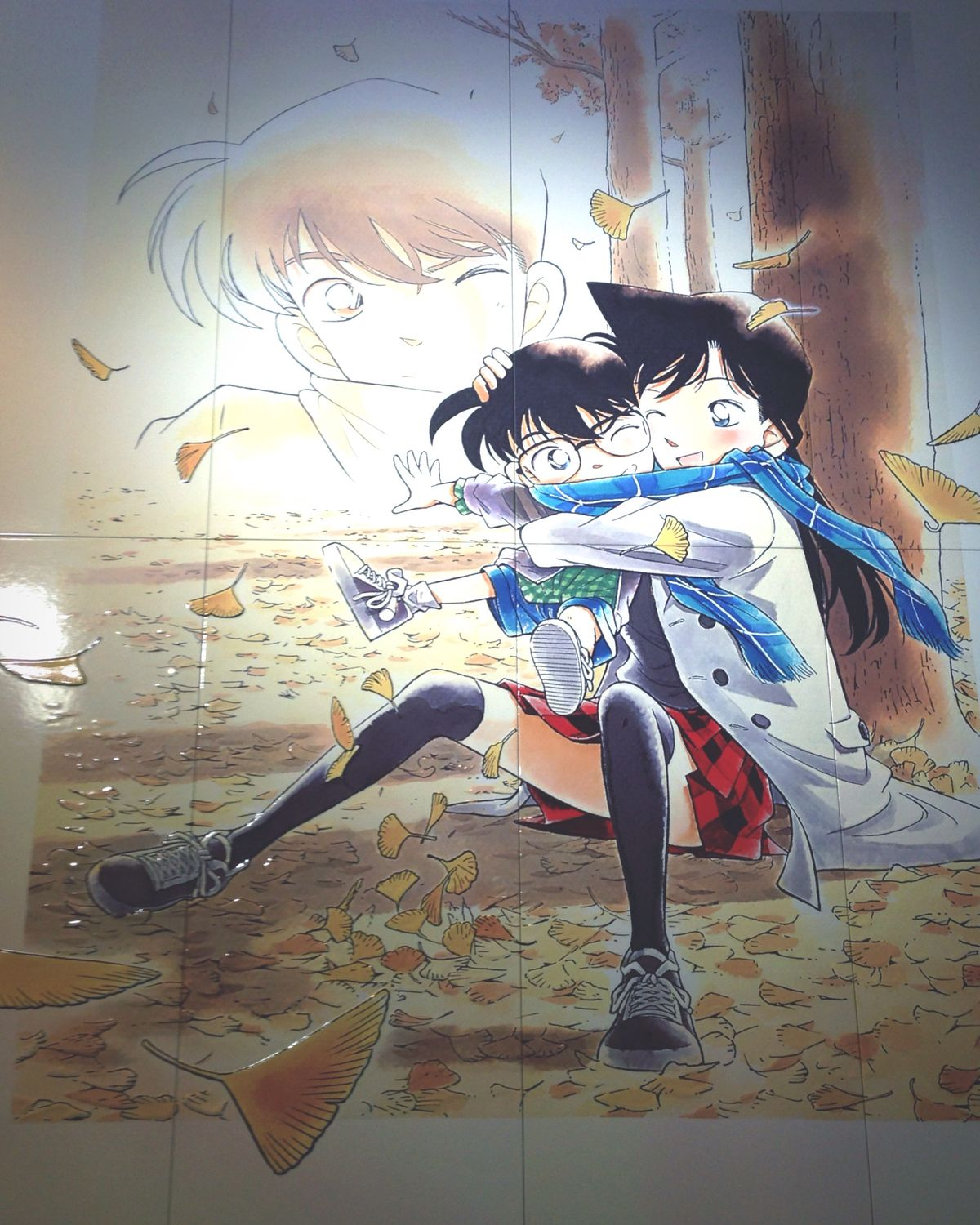 Tottori Detective Conan Ranmouri Drawing on Tiled Floor Couple IPhoneography Amazing Winter Vacation Art
