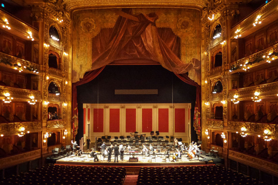 Architecture Art Buenos Aires Built Structure Illuminated Indoors  Lit Musicians Ornate Orquestra Teatro Colon  Theater