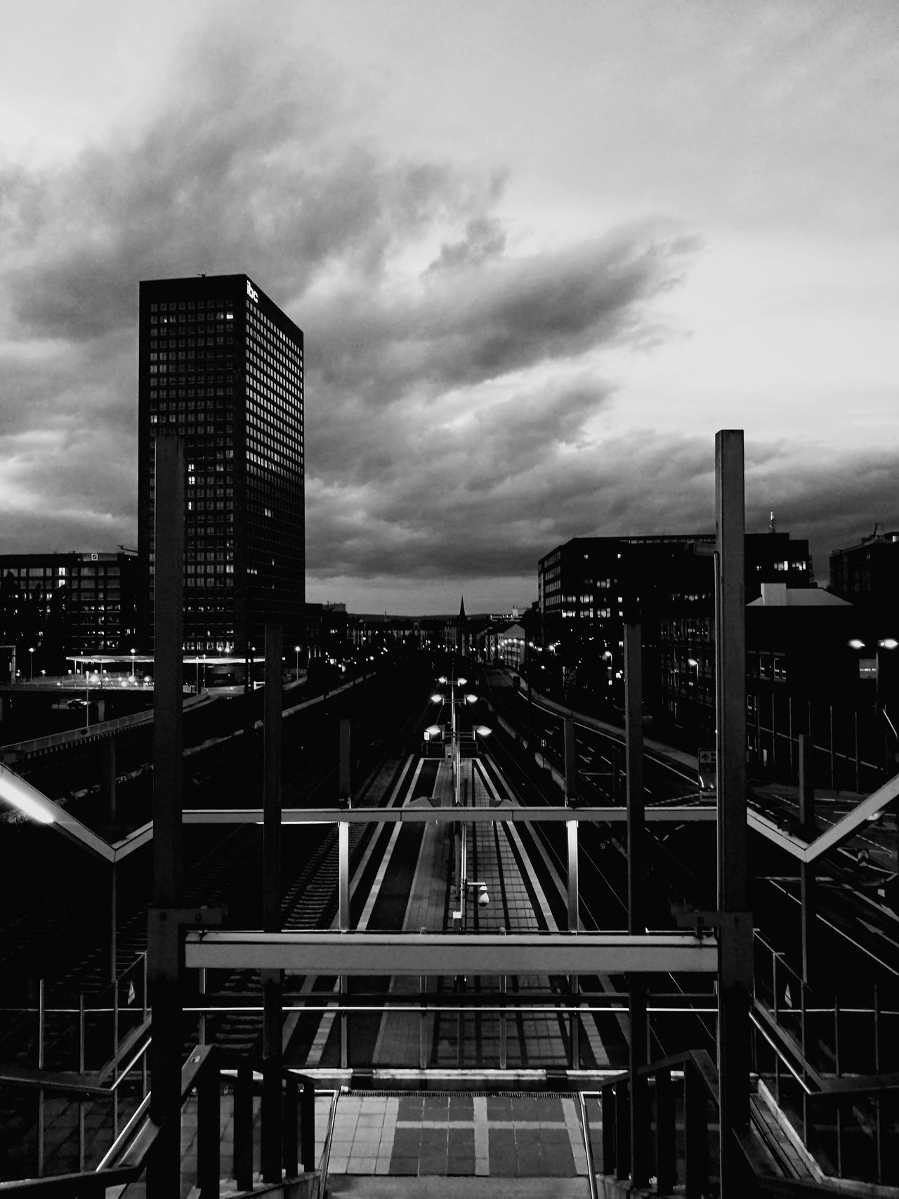 City Cloud - Sky Illuminated Cityscape Urban Skyline Blackandwhite Black And White Black & White Station Platform Urban Landscape Welcome To Black Sky Sky And Clouds Evening Evening Sky Evening Light The Architect - 2017 EyeEm Awards