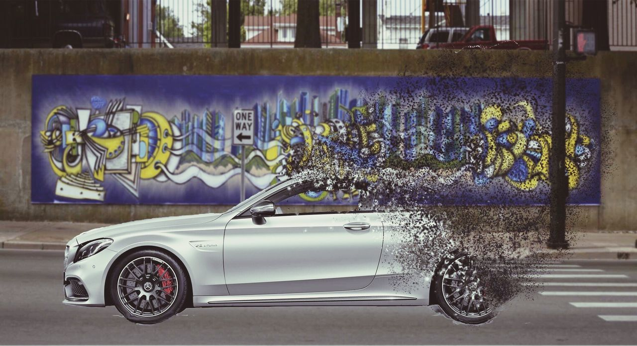 It's my first try.💪🏽 What do you think❓🤔 Car Graffiti No People Mercedes C63 AMG Particle Street Photoshop Photoshop Cc Photoshop CC 2017