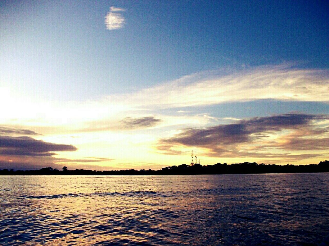 sunset, water, sky, beauty in nature, scenics, no people, tranquility, sea, nature, silhouette, tranquil scene, cloud - sky, outdoors, rippled, waterfront, day