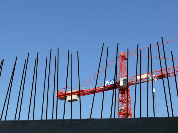 Blue Building Crane Construction Construction Site Day Elbe River Hamburg Iron - Metal Philharmonie Sky Structural Steel