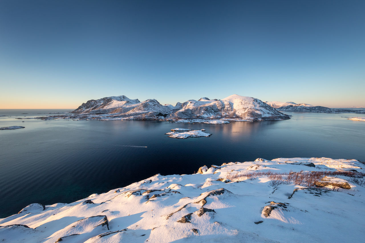 Beauty In Nature Clear Sky Cold Temperature Day Frozen Hiking Ice Idyllic Landscape Mountain Mountain Peak Nature No People Norway Outdoors Polar Climate Scenics Sea Sky Snow Tranquil Scene Tranquility Vesterålen Water Winter