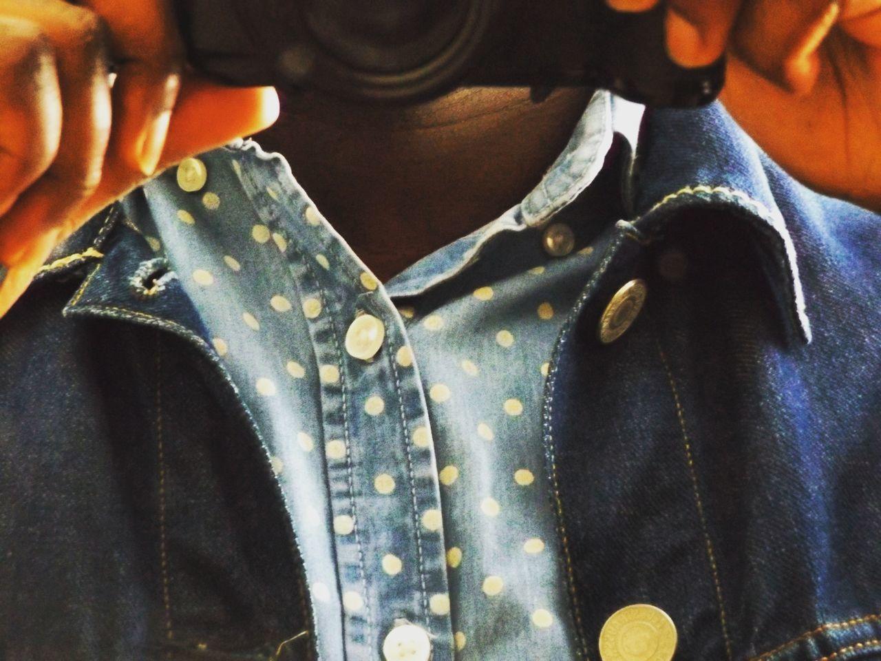 pop ya collar. Close-up Day Human Hand Indoors  Midsection One Person Selfportrait Canadiantuxedo Denim DenimOnDenim People Real People Fujifilm Shirt Polkadots Denim Jacket