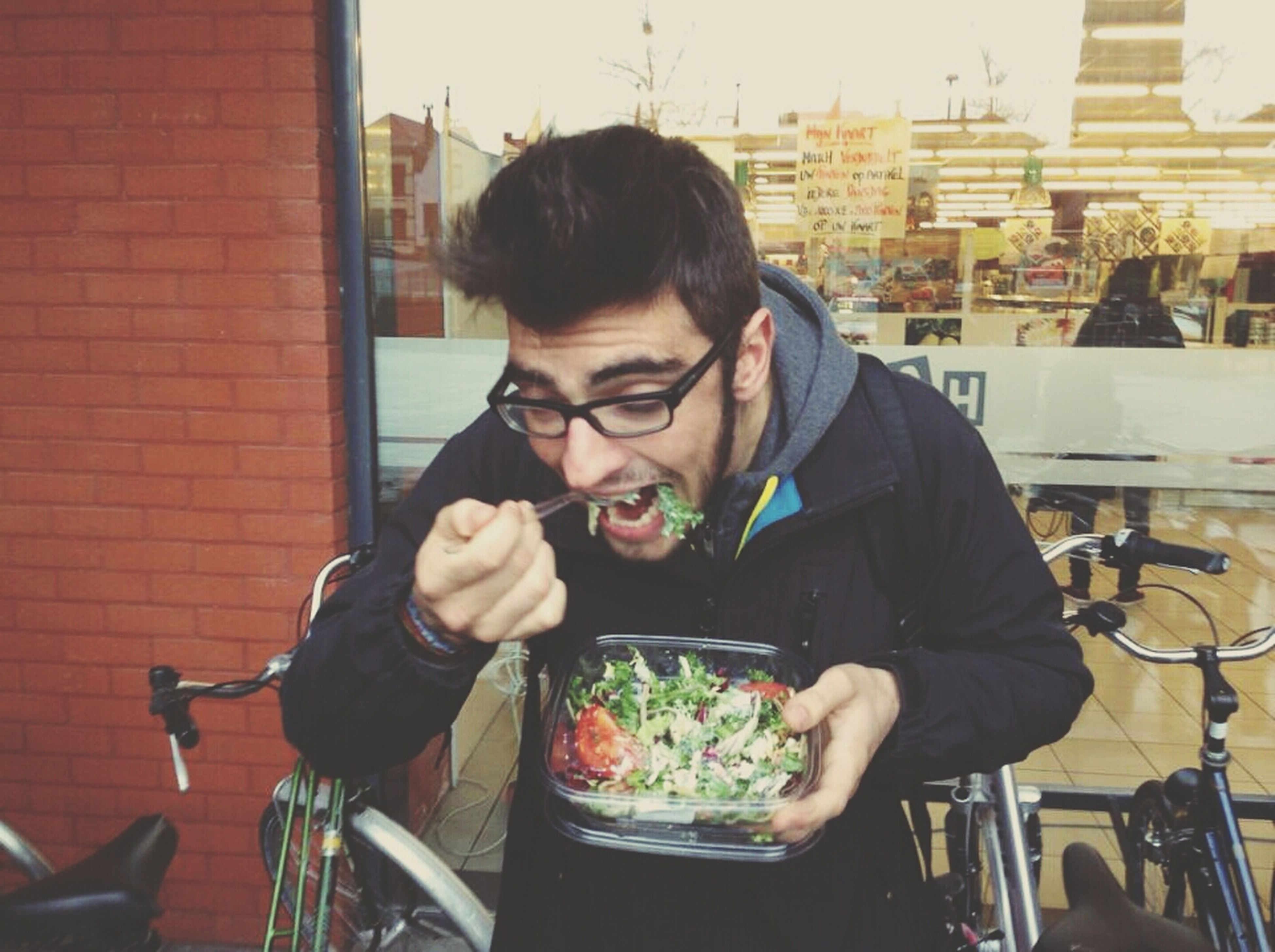 my friend eating a salad Oh His Manners Hanging Out Taking Photos Eating Salad