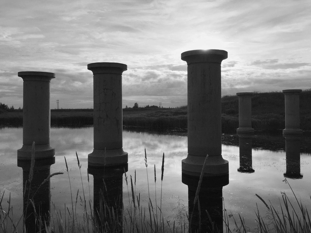 Pillars. Pillars Bridge Architecture Sunset River Landscape IPhoneography Iphone6 Blackandwhite Eyeem Canada Yeg St Albert Canada