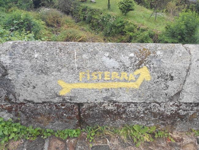 ... bis zum Ende der Welt ... Camino CaminodeSantiago El Camino De Santiago Fisterra Gelber Pfeil Jakobsweg Pilgern Pilgerschaft Pilgrimage Santiago De Compostela Sign Wall Way Of Saint James