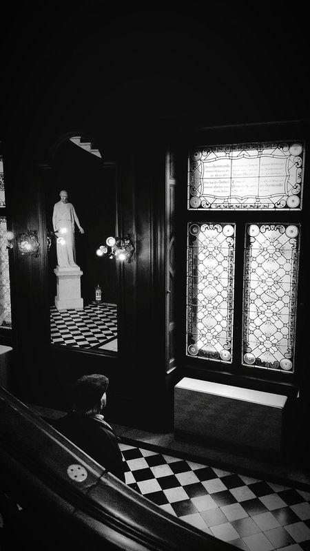 Window Illuminated Indoors  Painted Glass Window Statue Man Solitary Lights Black And White Tiles Hermes Villa Vienna Lainzer Tiergarten
