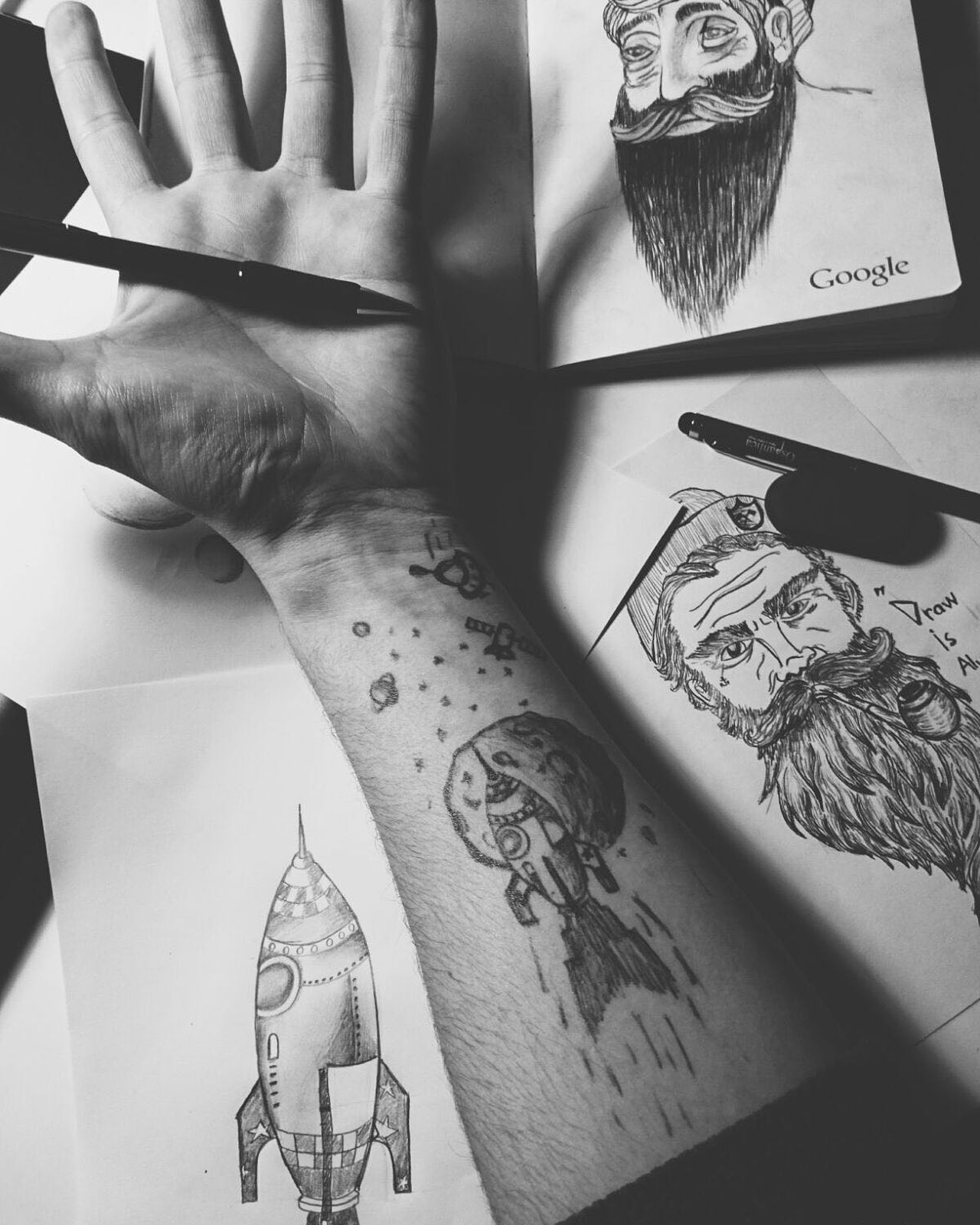 Art, Drawing, Creativity Drawing Draw Nigth  Nice Drawing ✏ Beard My Drawing Charcoal Drawings 3D Drawing Charcoal Drawing Moon Space Allian Tattoo