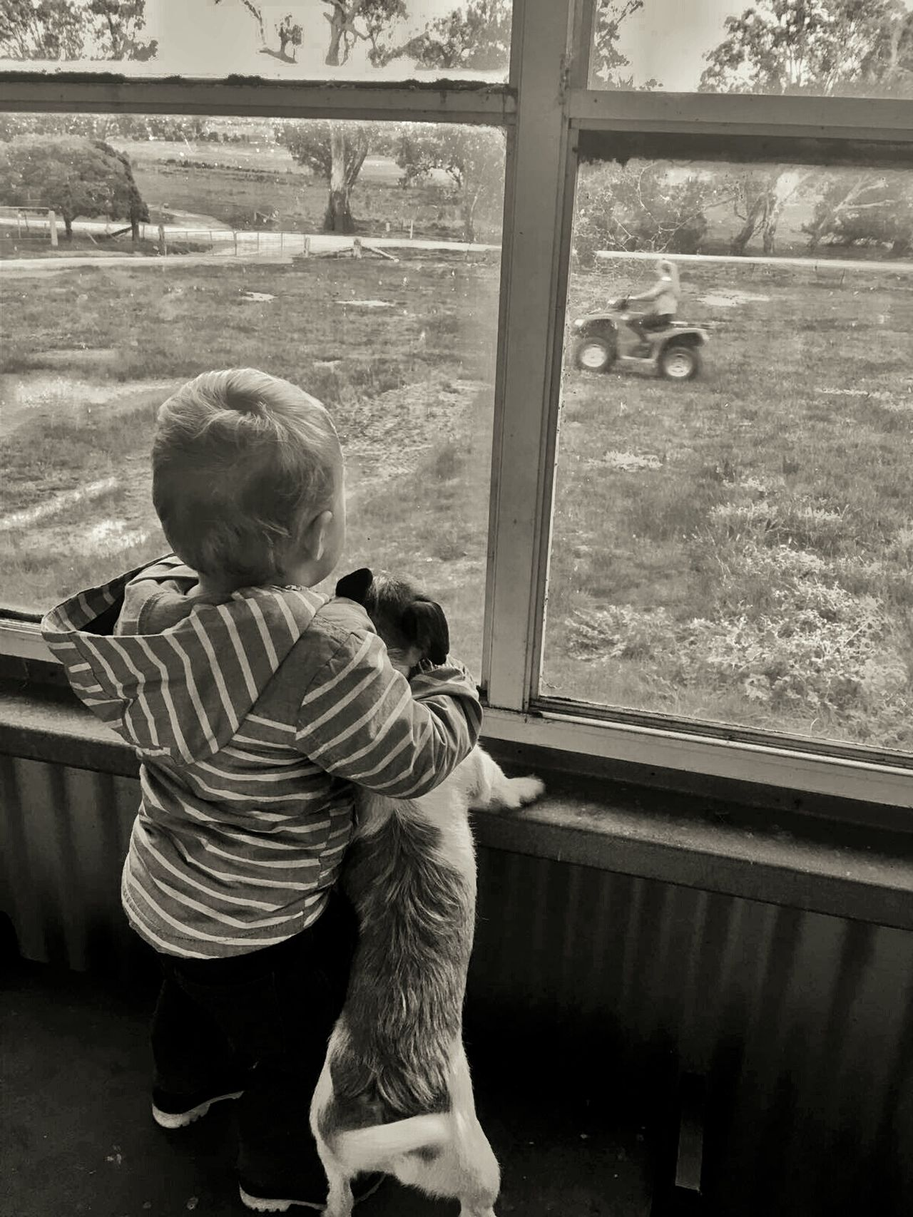 Ezra & Jazzy. Best Friends (view from the Shearing Shed) Mans Best Friend Monochrome Check This Out Australia Hanging Out Enjoying Life Farm Life Quad Biking Striving For Excellence Tadaa Community Best Edits  Exceptional Photographs
