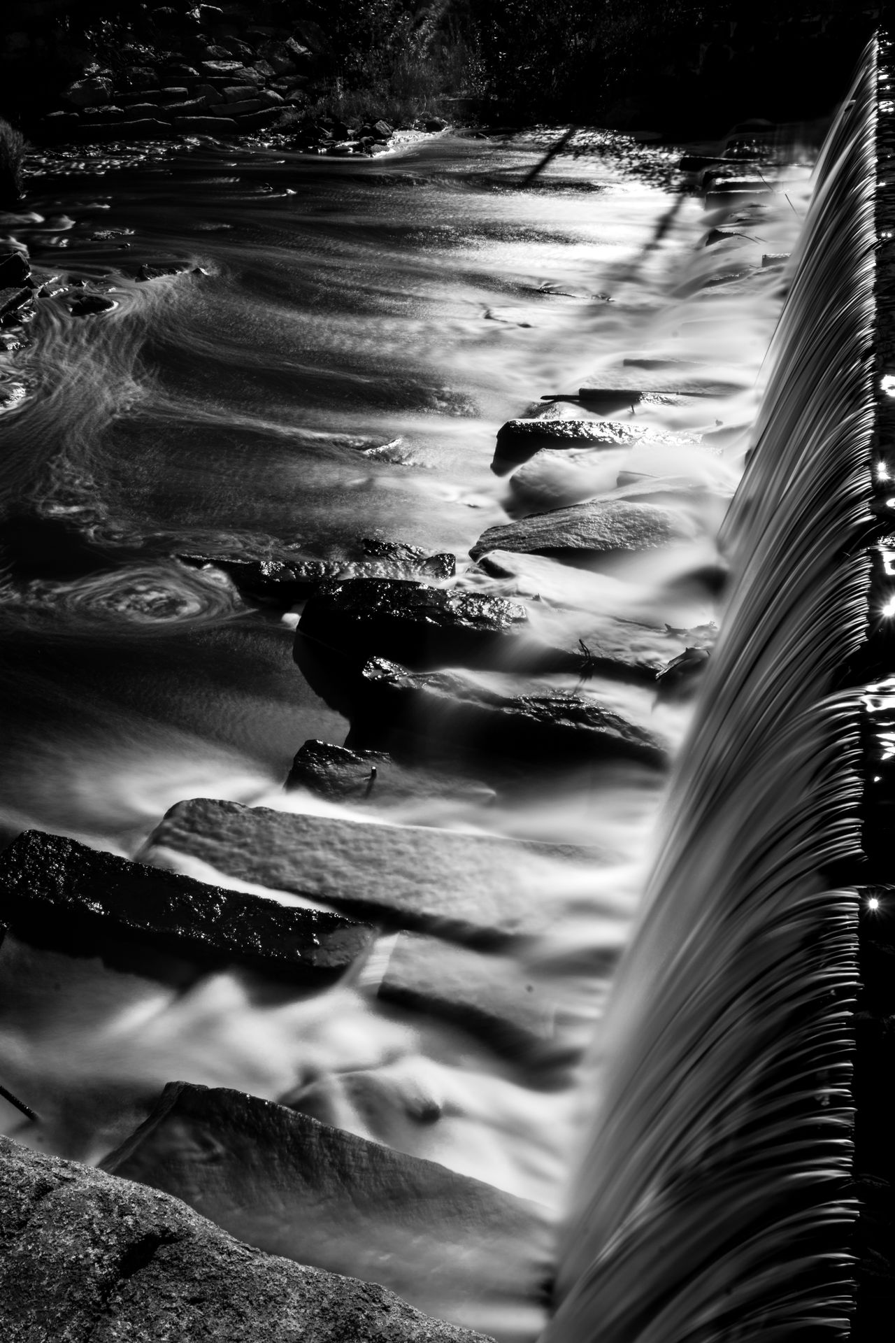 Water going over the dam at the Cooperage in Townsend, MA Animal Themes Beautiful Beauty In Nature Black And White Blackandwhite Close-up Contrast Dam Day Flowing Flowing Water Lake Landscape Light And Shadow Long Exposure Long Exposure Shot Nature No People Outdoors Perspective Rocks Rocks And Water Softness Water Water_collection