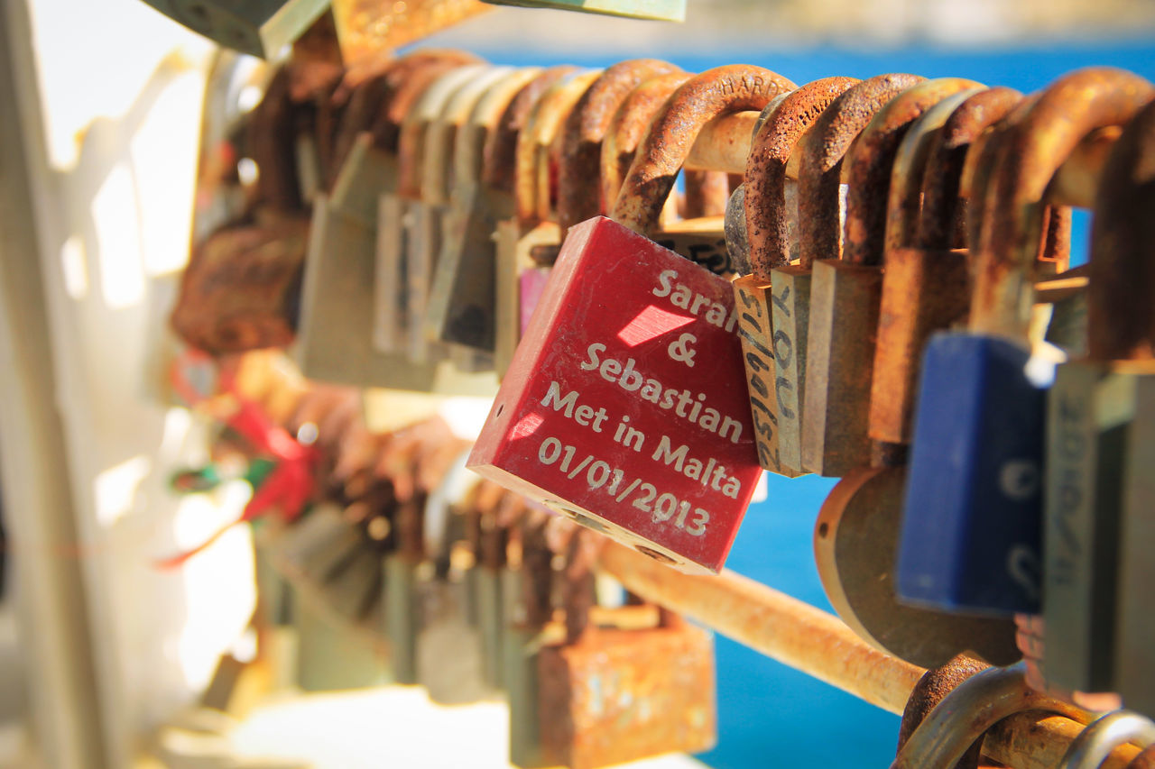 Padlocks Close-up Day Food For Sale Hanging Large Group Of Objects No People Outdoors Selective Focus Text Variation