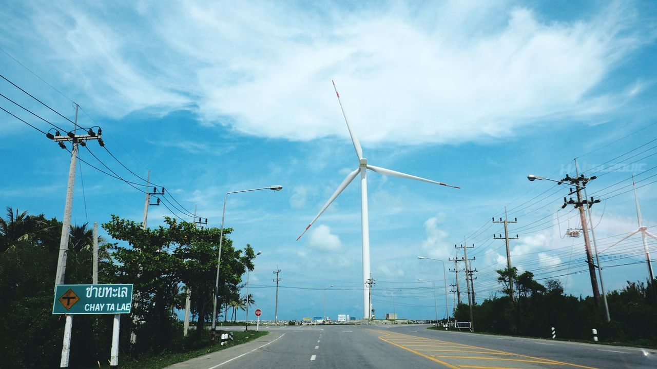Road Electricity  Transportation Cloud - Sky Fuel And Power Generation Road Sign Technology No People Sky Day The Way Forward Travel Destinations Outdoors Nature Nakhon Si Thammarat Thailand Talumpuk