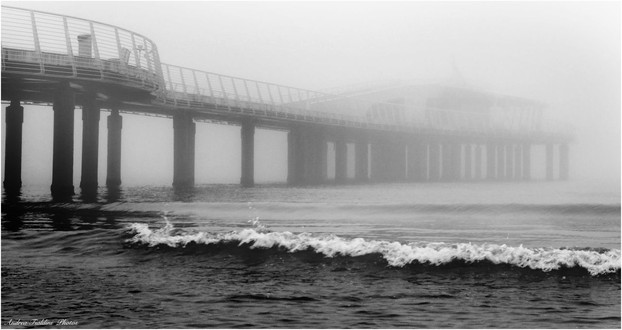 Architecture B&w Beauty In Nature Blackandwhite Bridge - Man Made Structure Built Structure Clear Sky Connection Day Italy Landescape Nature Nebbia No People Outdoors Paesaggi_ditalia Paesaggio Sea Sky Tranquility Tuscany Tuscany Italy Versilia  Water Waterfront