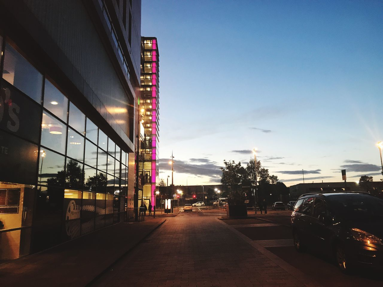 Architecture Car Built Structure City Road Illuminated Sunset Manchester Mediacityuk Cloud - Sky Night