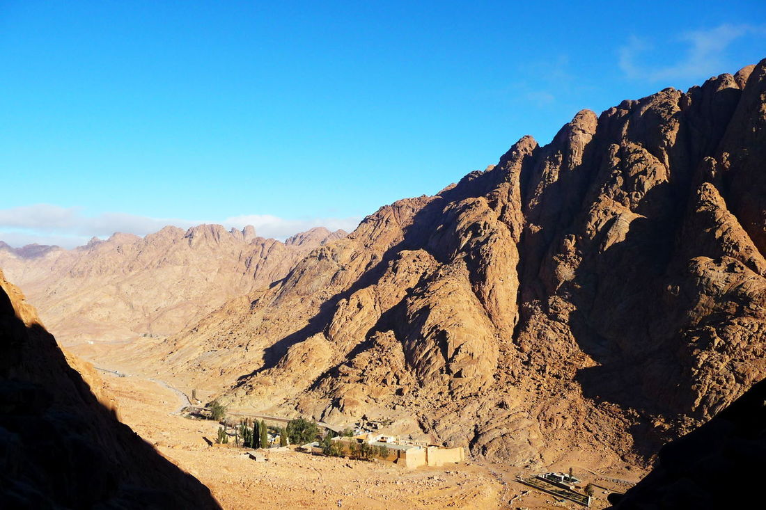 Arid Climate Beauty In Nature Clear Sky Desert Geology Landscape Morning Mountain Nature No People Outdoors Physical Geography Saint Catherine's Monastery Scenics Sinai Sinai Egypt Sky St Catherine Travel Destination Valley The Great Outdoors - 2017 EyeEm Awards