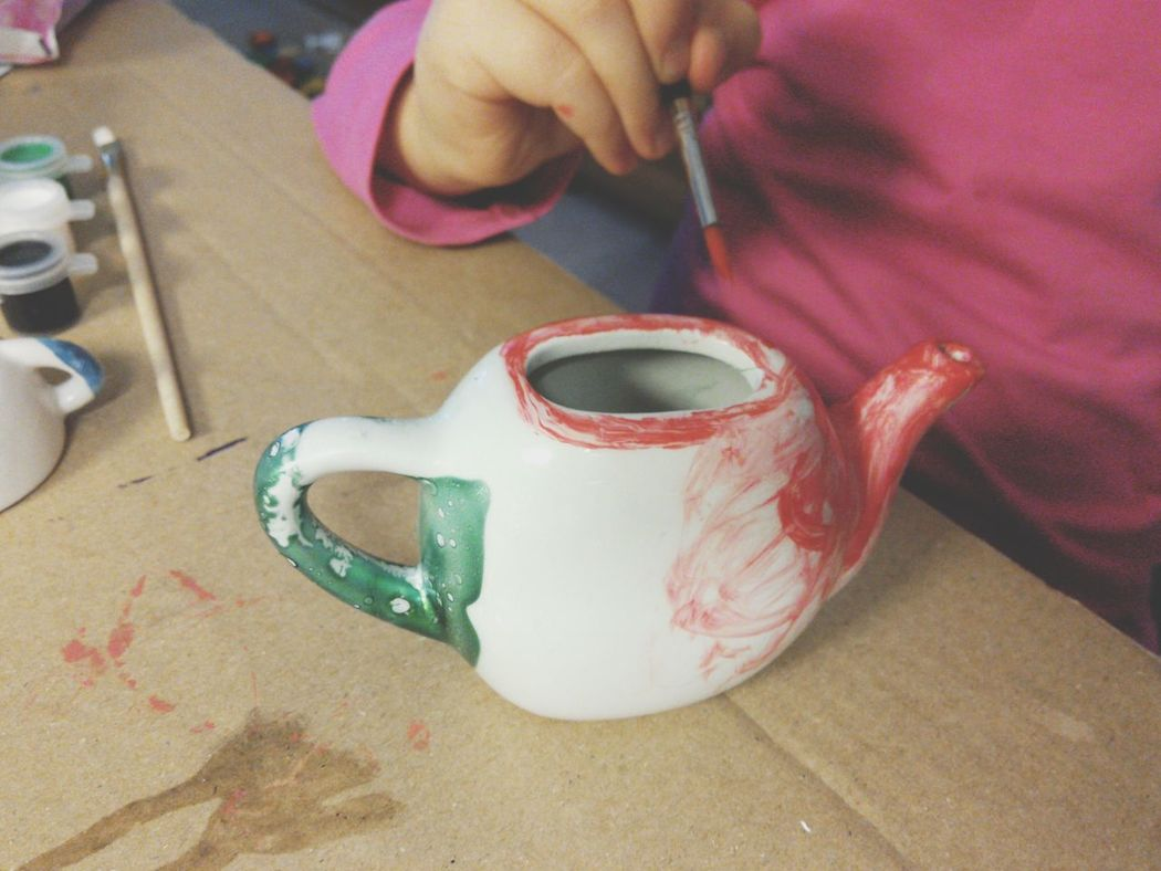 Kids Crafts Painting Red Color Teapot Paintbrush Kids Hands Kids Art