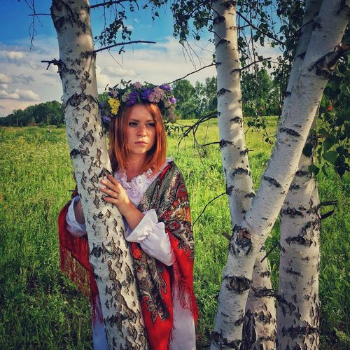Grass Women One Person Nature Day Beauty In Nature Russia Sky Siberia Flowers