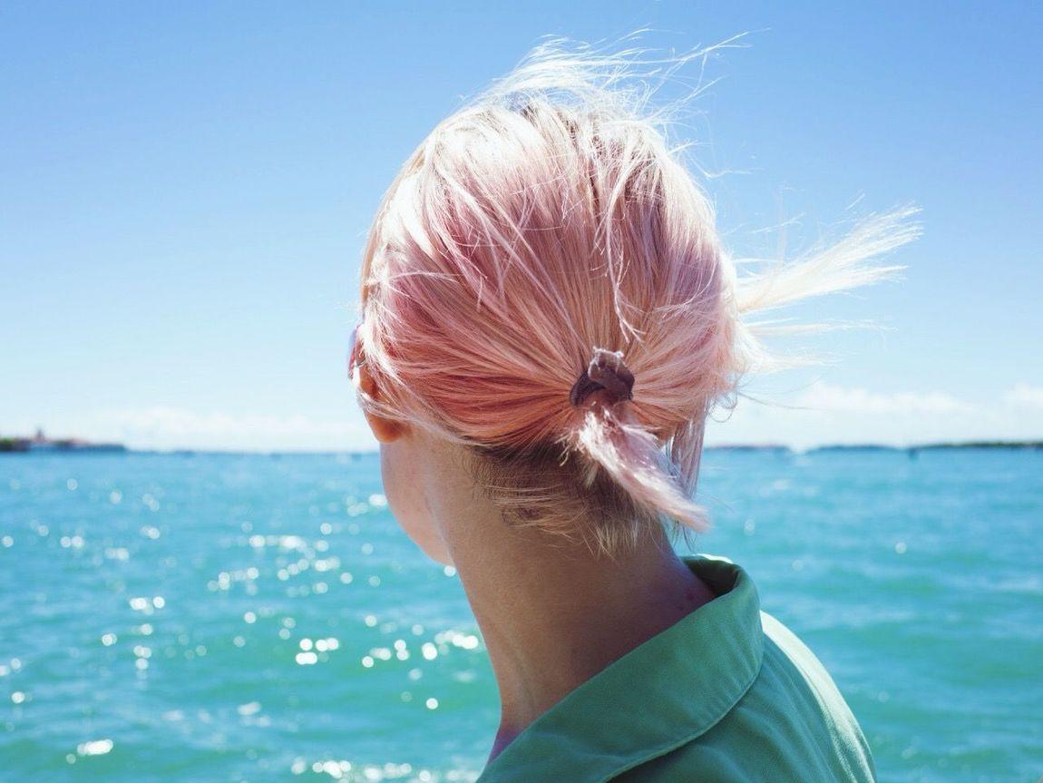 Venice Ocean Sea Lagoon Blue Turquoise Pink Hair Water