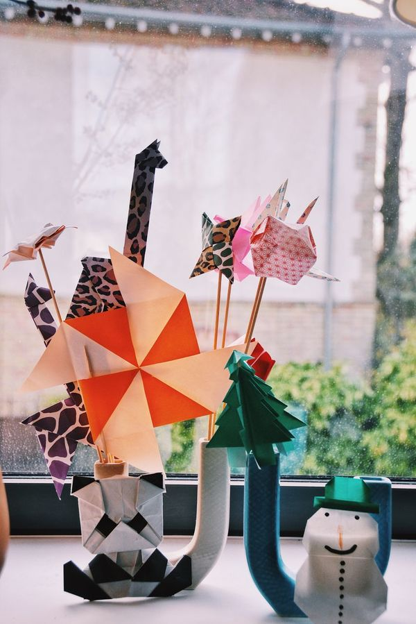 When there's kids at home. Home Decor Origami Kids Crafts Arts & Crafts Things Made By Kids Home Home Interior Interior Design Decor Kids Being Kids Childhood Childish Cute Childhood Paper Animals Paper Paper Art