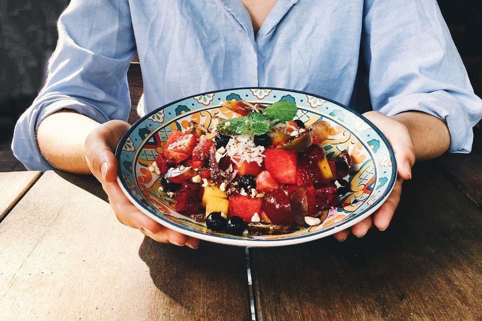 Clean Eating Diet Fruit Salad Girl Eating Fruit Salad Healthy Diet Breakfast