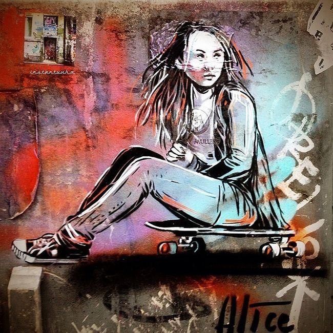 Little Skatergirl by Alice Streetart Wheatpaste