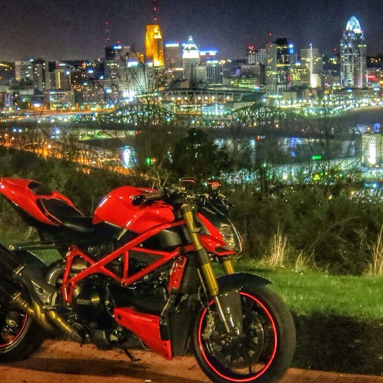 3am ridin a few weekends ago Ducatistreetfighter Cincinnati Skyline Playtime emptyroads