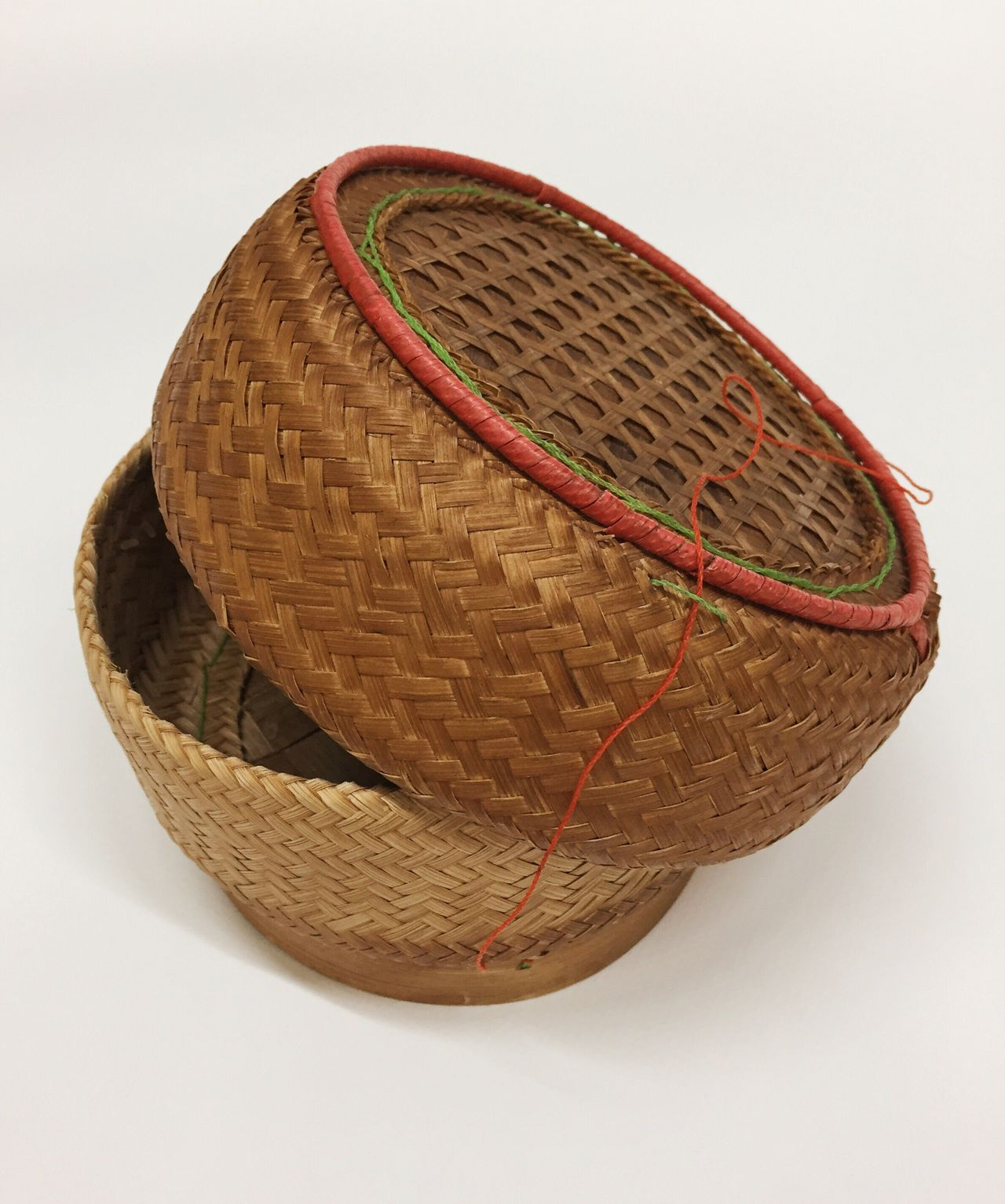 Thai traditional rice box White Background Basket Thai Wood - Material Brown Handmade Weave Rice Box Traditional Sticky Rice Box No People Close-up Day