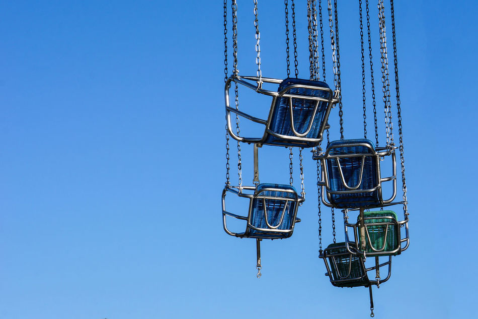 Blue Details Empty Seat Fun Funfair Flying Through The Sky No People Outdoors Cranger Kirmes  Herne  Nrw Germany Fine Art ColorPalette Beautifully Organized