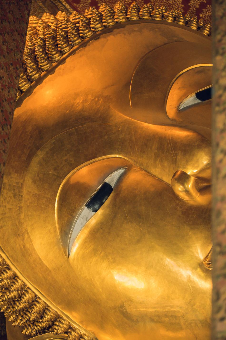 Close up on Buddha face Art Bangkok Buddha Buddhism Buddhist Buddhist Temple Close-up Culture Cultures Day Focus Gold Colored Indoors  No People Place Of Worship Power Relegion Relegious Religion Spirit Spiritual Spirituality Spritual Statue Wat Pho