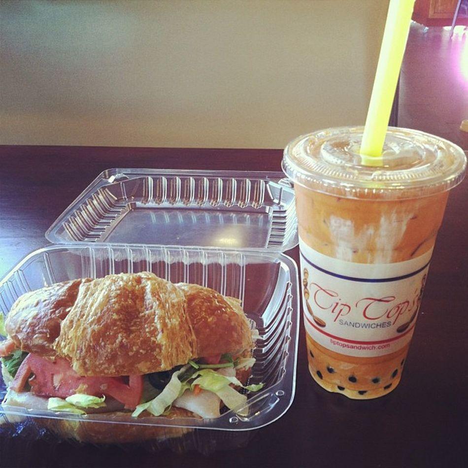 Breakfast of champs Ocbound Hometown Tiptop Thaitea croissant ;)