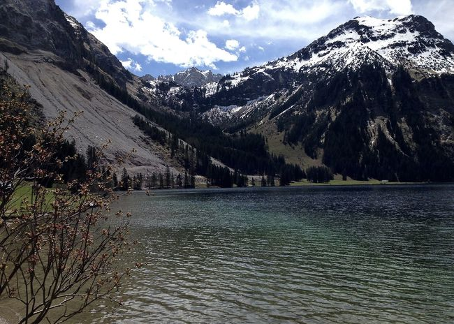 Colors Holiday Life Tannheimer Tal Travel Alps Beauty In Nature Clouds Lake Landscape Mountain Mountain Range Nature Outdoors Rocky Mountains Scenics Sky Snow Snowcapped Mountain Spring Tranquil Scene Tranquility Vilsalpsee Waterfront Connected By Travel