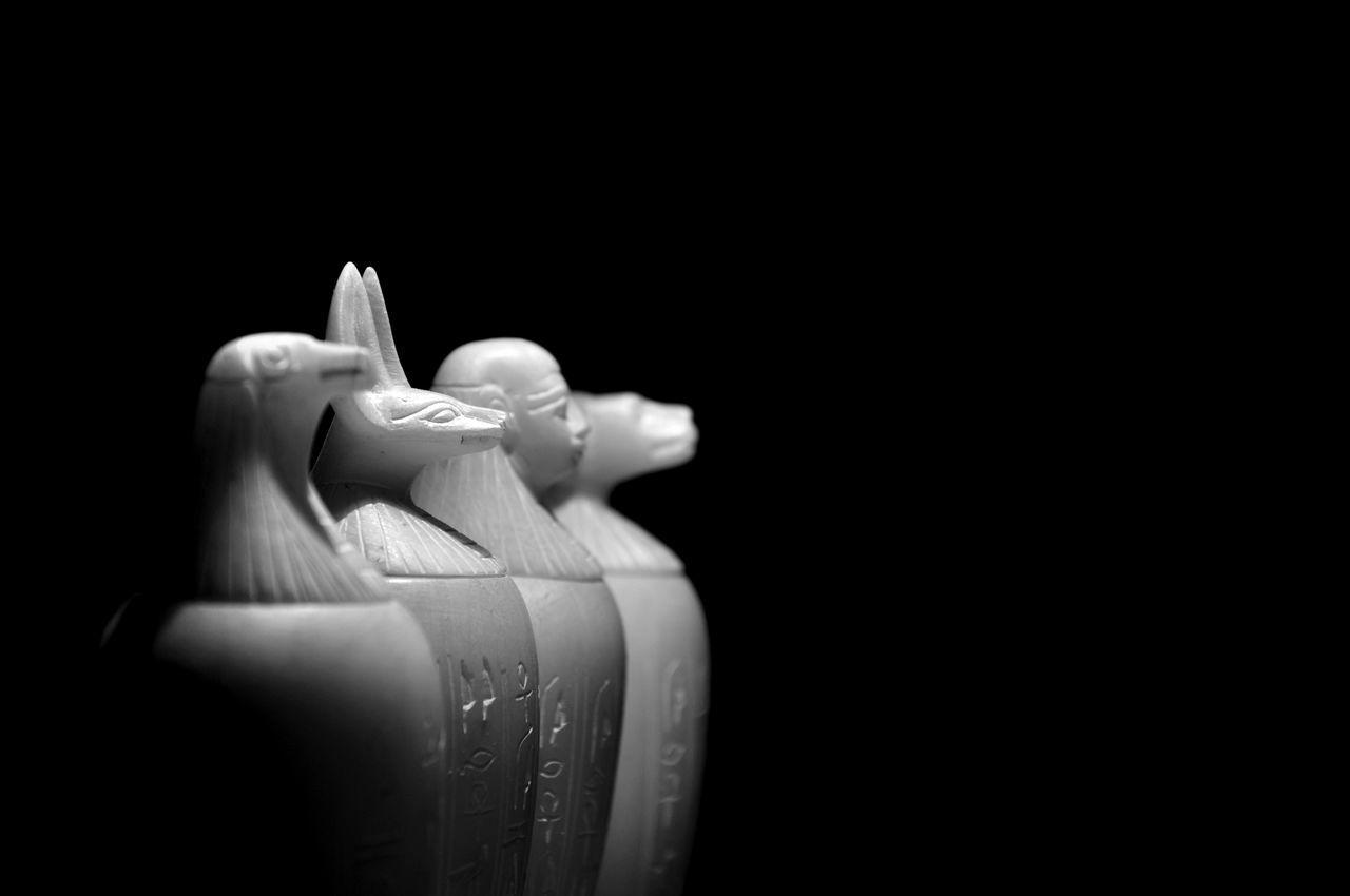 Black Background Canopicjars Object Shadowplay Egypt Jars