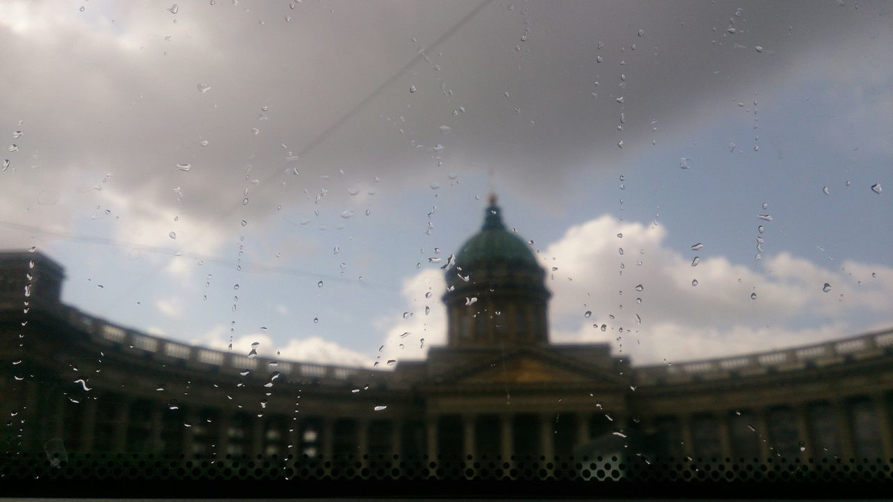 Rainy summer at Saint Petersburg, Russia. Kazan Cathedral from a bus window. No Filter, No Edit, Just Photography Mobile Photography Sony Xperia Zr Saint Petersburg Russia Rain City Window Church Cityscapes