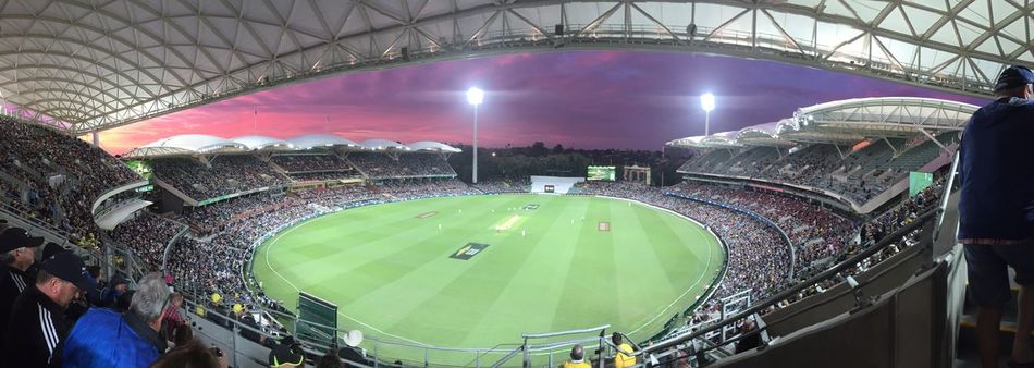 Historic Adelaide Oval Scoreboard In Twilight Adelaide Oval Playing Cricket Watching Cricket Stands Bleachers Crowd Game Sunset Panorama IPhoneography The Purist (no Edit, No Filter)