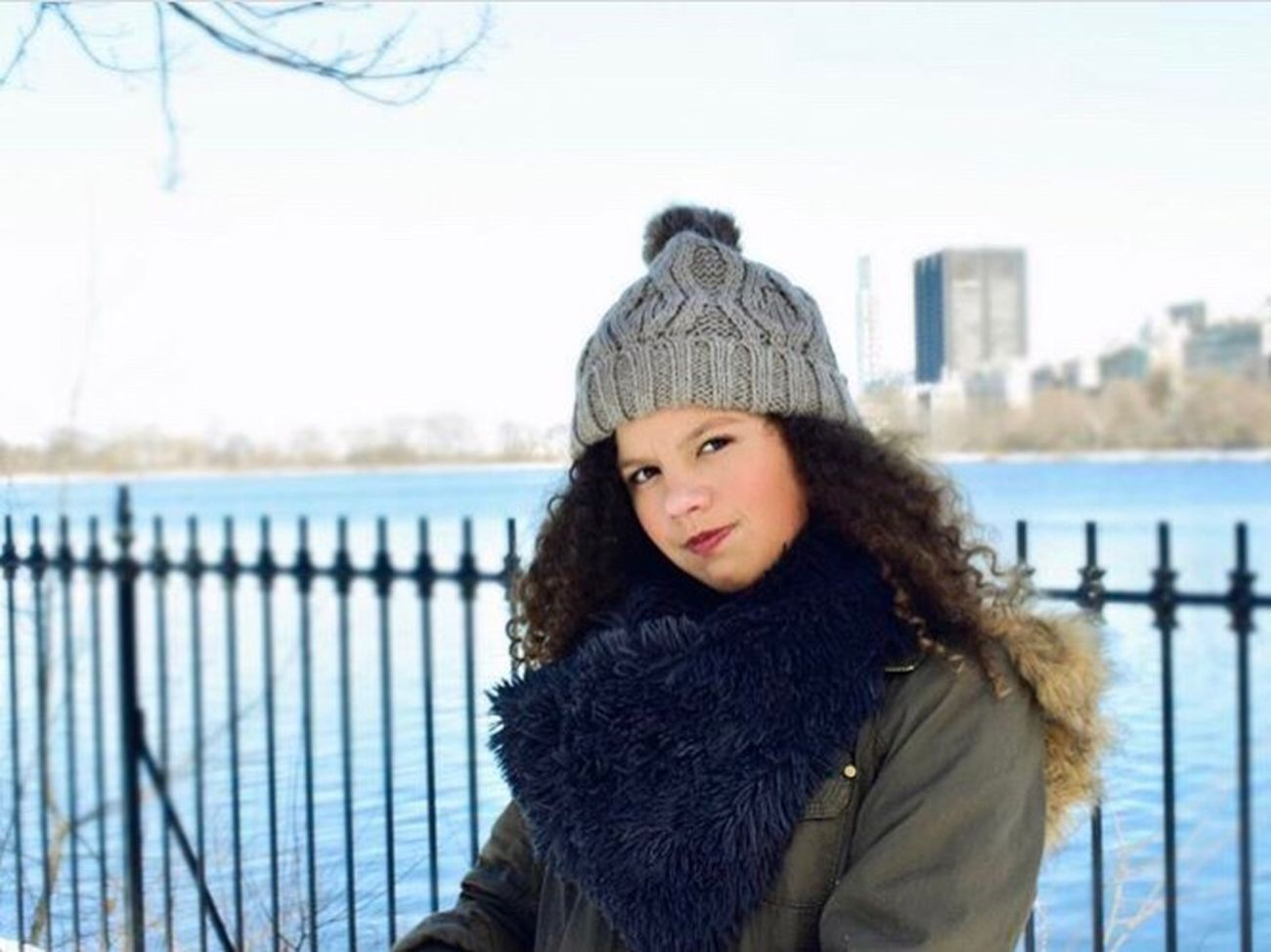 Winter Warm Clothing Looking At Camera Portrait Outdoors Cold Temperature Sweater Beautiful Woman New York City Knit Hat