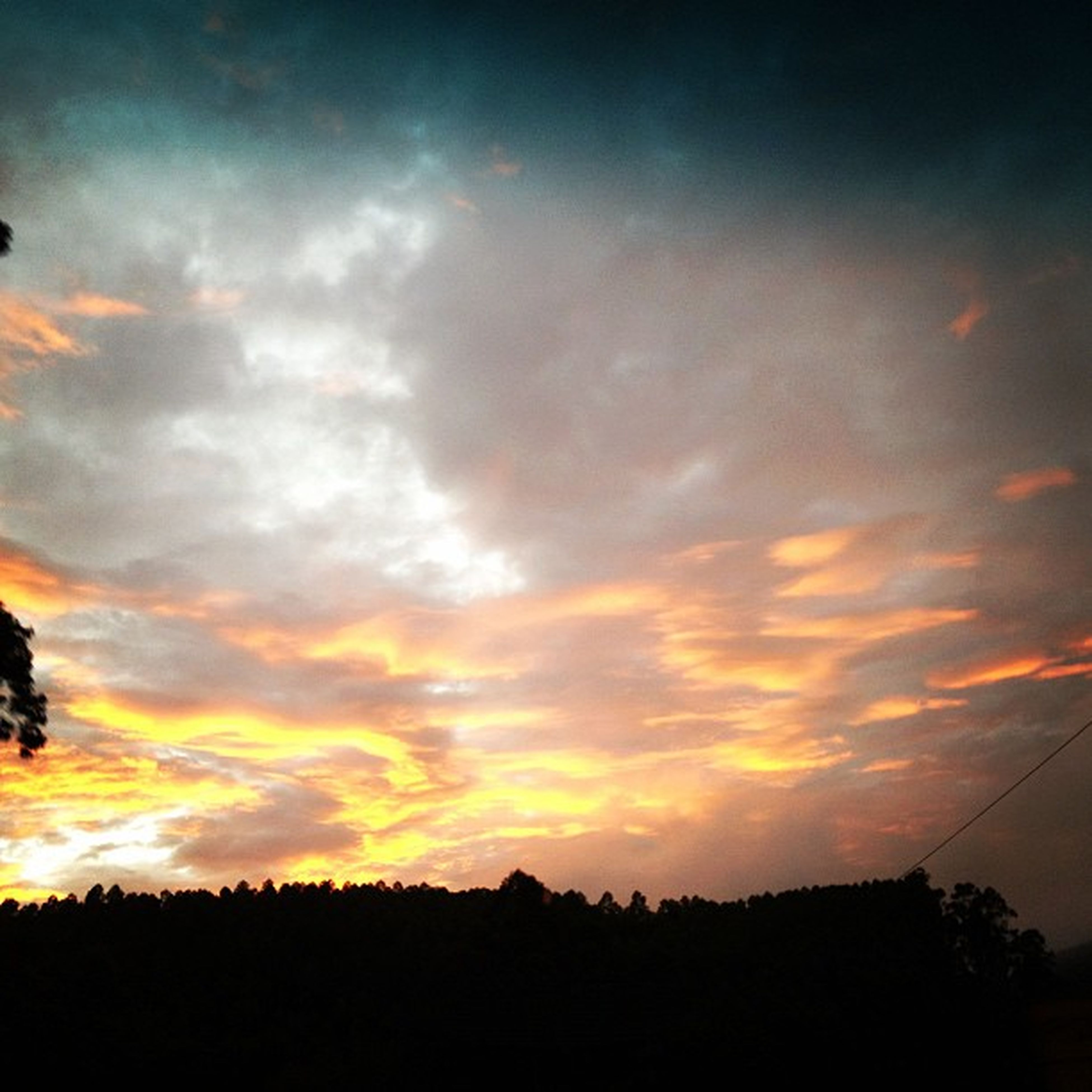 sunset, silhouette, sky, tranquil scene, scenics, tranquility, beauty in nature, landscape, orange color, cloud - sky, nature, idyllic, cloud, dramatic sky, tree, field, moody sky, outdoors, no people, majestic