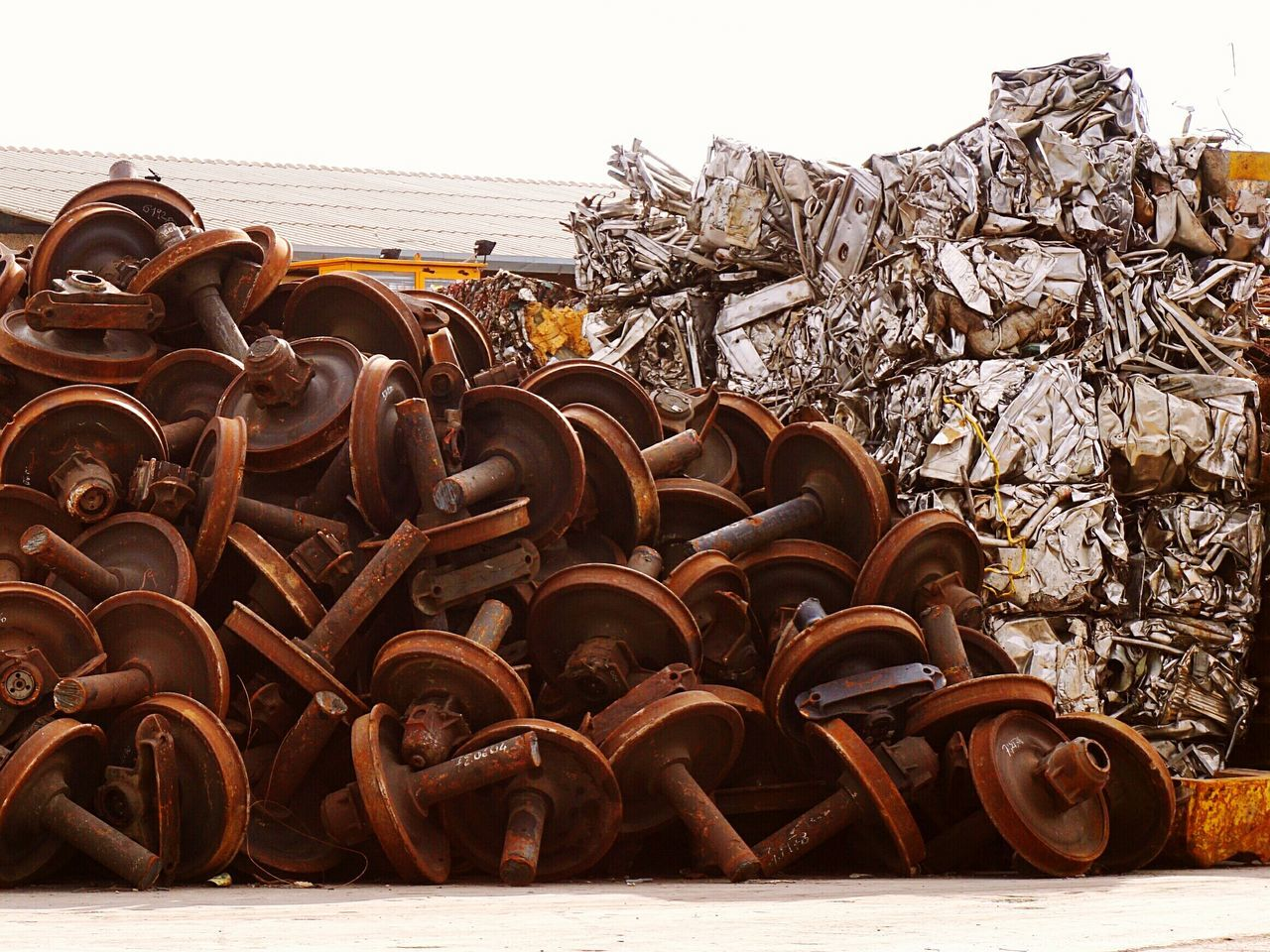 Scrap Iron Recycling Materials Rail Wheels Large Group Of Objects Outdoors Day Civitavecchia Italy 🇮🇹 EyeEmNewHere