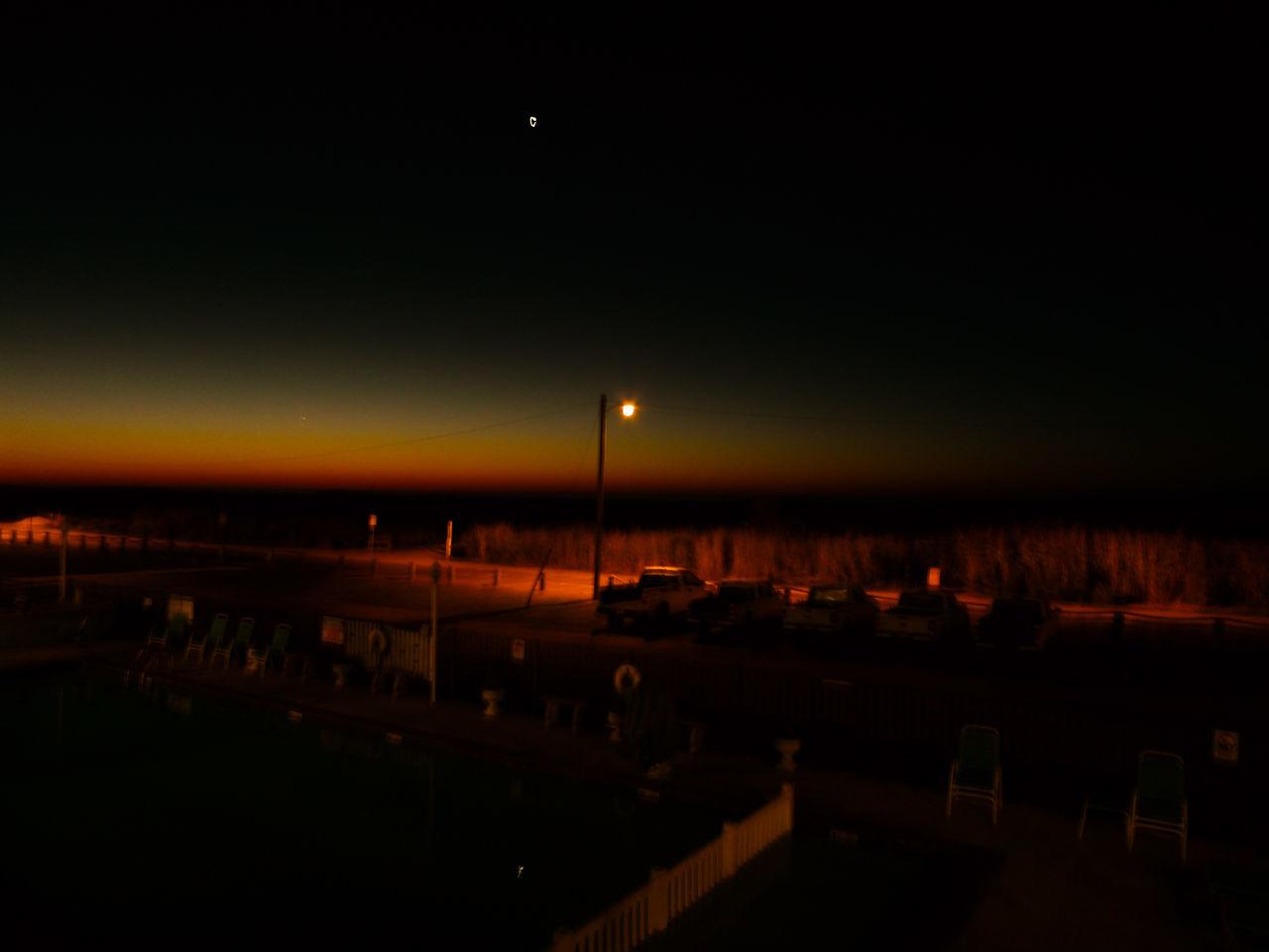 Dark Illuminated Morning Star Night Ocan Venus Rising Sky Sunrise Beach Sunrise Silhouette
