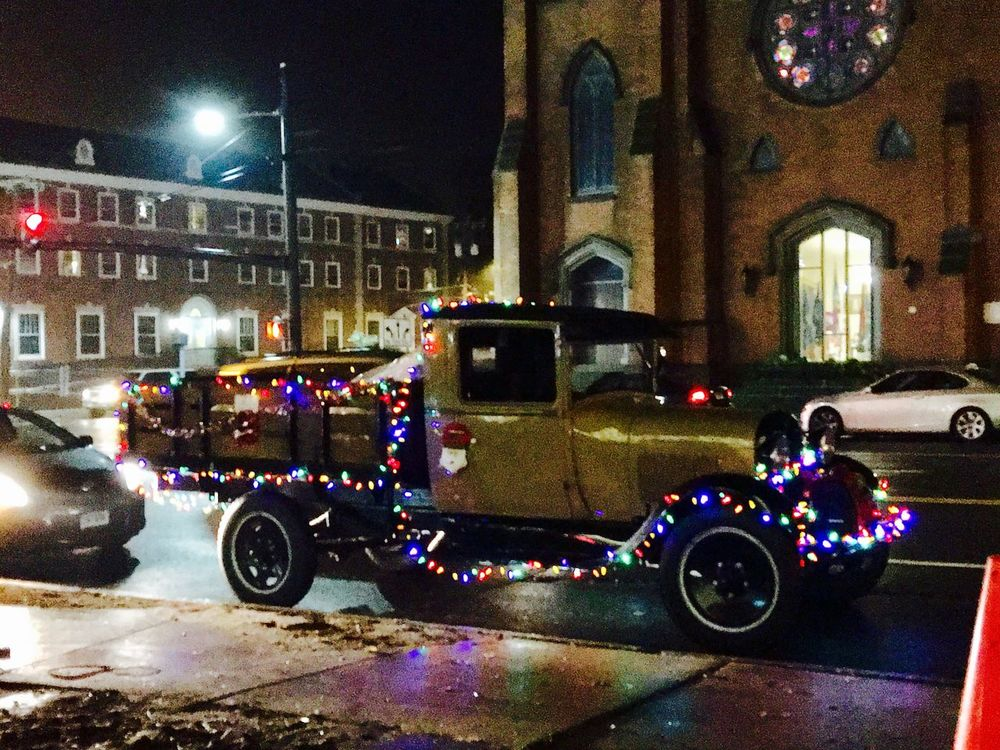 Vintage pickup truck decorated with lights Illuminated Christmas Lights Christmas Decoration Land Vehicle