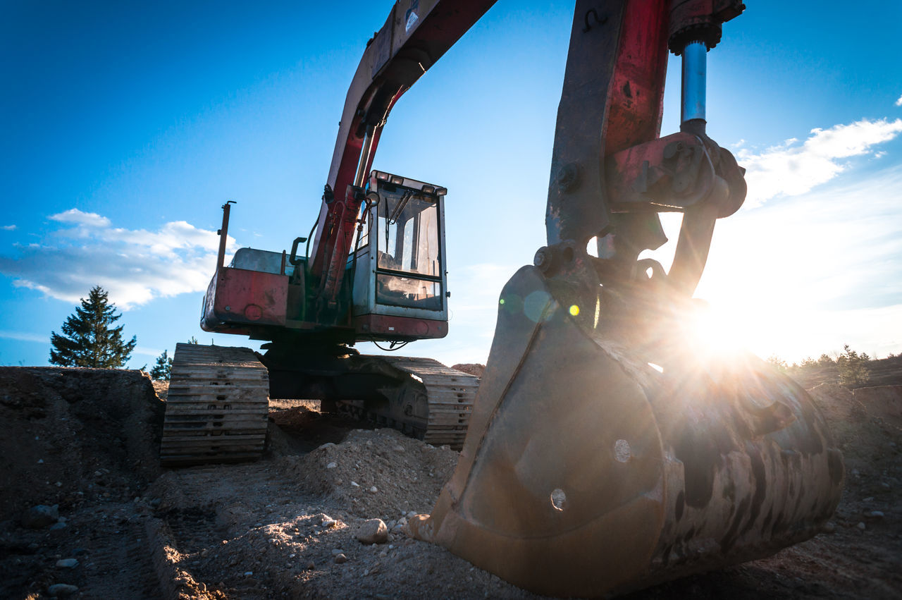 Heavy digger / excavator / in construction site - wide angle photo Blue Sky Building Construction Dig Digger Duty Engineering Excavation Excavation Site Excavator Gravel Heavy Industrial Equipment Land Lithuania Machinery Mine Red Shovel Shoveling Site Sky Sun Tractor Work